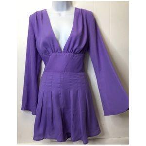 Fashion Nova | Princess Purple Bell Sleeve Romper